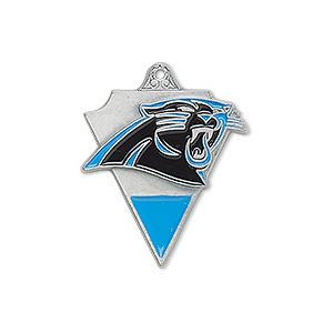 charm, enamel and pewter (zinc-based alloy), bright blue and black, 25x19mm single-sided nfl carolina panthers. sold individually.