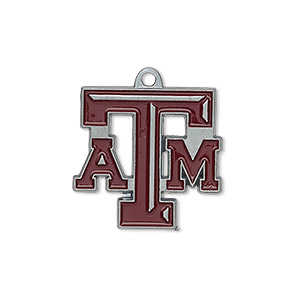 charm, enamel and pewter (zinc-based alloy), maroon, 22x21mm single-sided texas am aggies. sold individually.