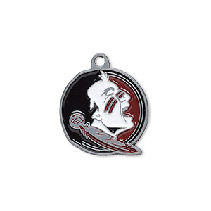 charm, enamel and pewter (zinc-based alloy), multicolored, 21x19mm single-sided florida state seminoles. sold individually.