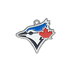 charm, enamel and pewter (zinc-based alloy), multicolored, 25x21mm single-sided mlb™ toronto blue jays. sold individually.