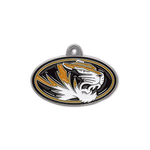 charm, enamel and pewter (zinc-based alloy), orange / black / white, 25.5x15mm single-sided right-facing university of missouri tigers. sold individually.