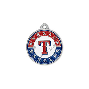 charm, enamel and pewter (zinc-based alloy), red / white / blue, 18mm single-sided mlb™ texas rangers. sold individually.