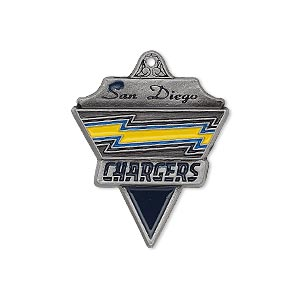 charm, enamel and pewter (zinc-based alloy), yellow and blue, 29x23mm single-sided nfl san diego chargers. sold individually.