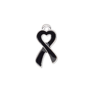 charm, enamel and silver-finished pewter (zinc-based alloy), black, 18x10.5mm single-sided awareness ribbon heart. sold per pkg of 2.