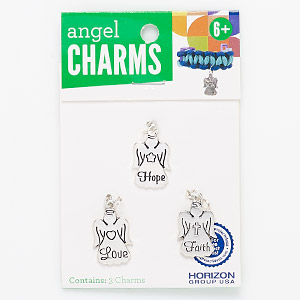 charm, enamel and silver-finished pewter (zinc-based alloy), black, 22x14mm angel. sold per pkg of 3.