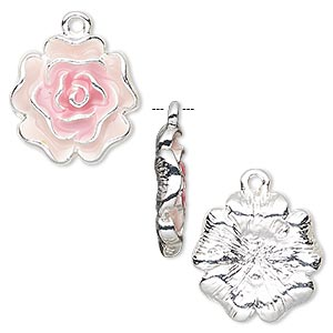 charm, enamel and silver-finished pewter (zinc-based alloy), pink and light pink, 18x17mm flower. sold per pkg of 2.