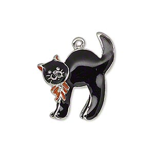 charm, enamel and silver-plated pewter (zinc-based alloy), black and orange, 25x23mm single-sided cat with ribbon. sold individually.