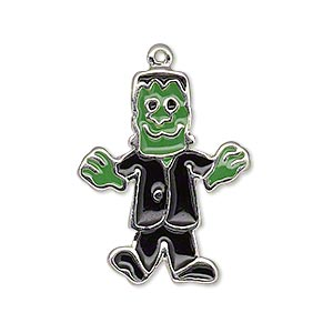 charm, enamel and silver-plated pewter (zinc-based alloy), green and black, 29x23mm single-sided frankenstein. sold individually.