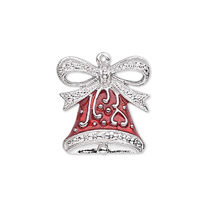 charm, enamel and silver-plated pewter (zinc-based alloy), red, 20.5x19.5mm single-sided bell with fancy bow. sold individually.
