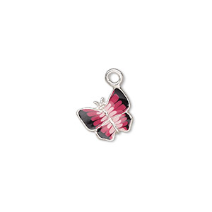 charm, enamel and sterling silver, black / light pink / dark pink, 10x9mm single-sided butterfly. sold individually.