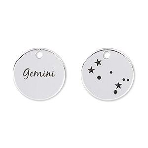 charm, enamel and sterling silver, black, 16mm two-sided flat round with gemini and constellation. sold individually.