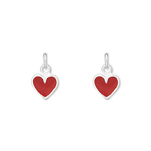 charm, enamel and sterling silver, red, 8x7mm heart. sold per pkg of 2.