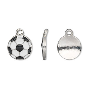 charm, epoxy and pewter (tin-based alloy), white and black, 12.5mm single-sided soccer ball. sold per pkg of 2.