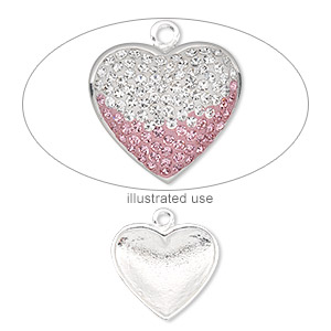 charm finding, imitation rhodium-plated pewter (zinc-based alloy), 20x19mm heart. sold per pkg of 2.