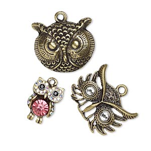 charm, glass rhinestone and antique brass-finished pewter (zinc-based alloy), clear ab / pink / black, 19x13mm singled-sided owl / 27x21mm single-sided owl head / 26x22mm single-sided owl head. sold per 3-piece set.