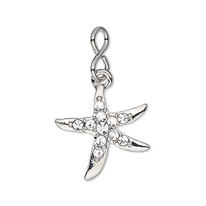 charm, glass rhinestone with imitation rhodium-plated brass and pewter (zinc-based alloy), clear, 20.5x20mm single-sided starfish. sold individually.