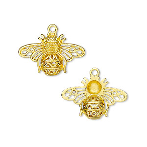 charm, gold-finished brass, 21x14mm single-sided bee. sold individually.