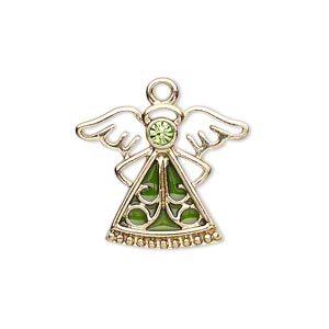 charm, gold-finished pewter (zinc-based alloy) / swarovski crystal rhinestone / enamel, peridot and green, 24x19mm single-sided angel. sold individually.