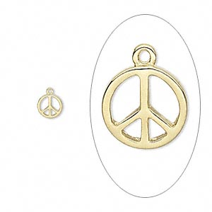 charm, gold-finished pewter (zinc-based alloy), 10.5mm single-sided round peace sign. sold per pkg of 4.