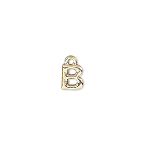 charm, gold-finished pewter (zinc-based alloy), 7.5x6.5mm alphabet letter b. sold per pkg of 2.