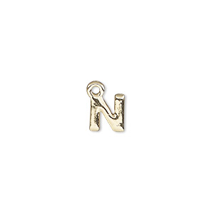 charm, gold-finished pewter (zinc-based alloy), 7.5x7mm alphabet letter n. sold per pkg of 2.