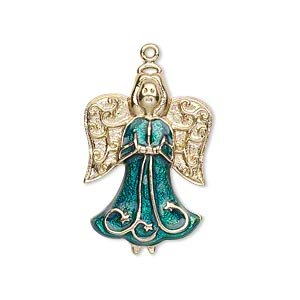 charm, gold-finished pewter (zinc-based alloy) and enamel, emerald green, 27x19mm single-sided angel. sold individually.
