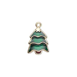 charm, gold-finished pewter (zinc-based alloy) and enamel, green and brown, 16x12mm single-sided christmas tree. sold per pkg of 2.