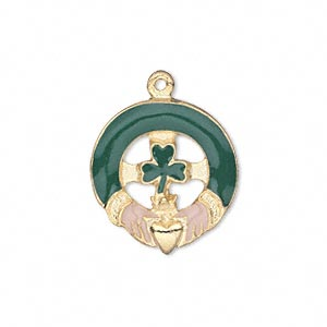 charm, gold-finished pewter (zinc-based alloy) and enamel, green and peach, 21x20mm single-sided claddagh with 3-leaf clover. sold individually.