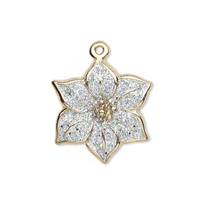 charm, gold-finished pewter (zinc-based alloy) and enamel, white with silver-colored glitter, 22x22mm single-sided poinsettia. sold per pkg of 2.