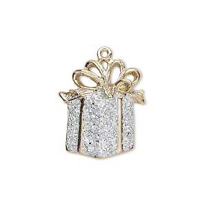 charm, gold-finished pewter (zinc-based alloy) and enamel, white with silver-colored glitter, 21x19mm single-sided gift with bow. sold per pkg of 2.
