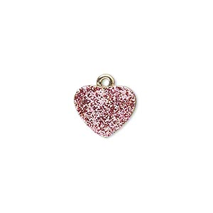 charm, gold-finished pewter (zinc-based alloy), pink glitter, 13x11mm single-sided puffed heart. sold individually.