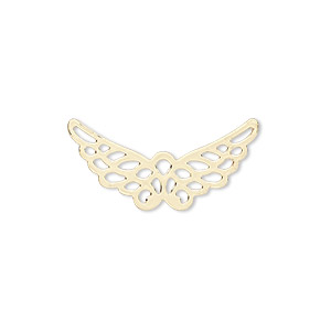 charm, gold-finished steel, 25x12mm wing with cutout. sold per pkg of 10.