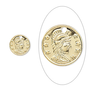 charm, gold-plated brass, 10mm roman coin replica. sold per pkg of 50.