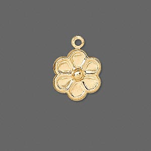 charm, gold-plated brass, 12x12mm solid round flower. sold per pkg of 50.