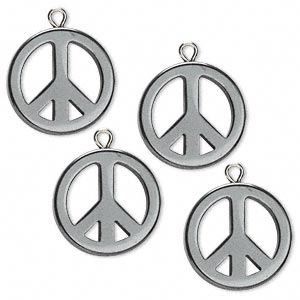 charm, hemalyke™ (manmade) and steel, 20mm peace sign with closed loop. sold per pkg of 4.