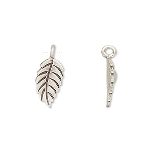charm, hill tribes, antiqued fine silver, 16x8mm leaf. sold per pkg of 2.