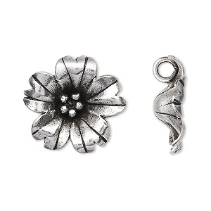 charm, hill tribes, antiqued fine silver, 20mm flower. sold individually.