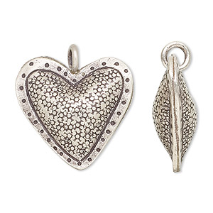 charm, hill tribes, antiqued fine silver, 24x23mm puffed heart. sold individually.