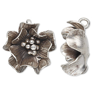 charm, hill tribes, antiqued fine silver, 25x25mm flower. sold individually.