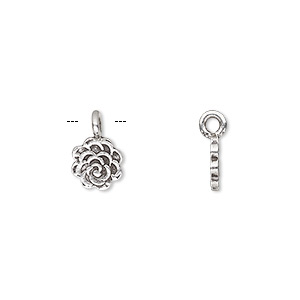 charm, hill tribes, antiqued fine silver, 8x8mm single-sided flower. sold individually.