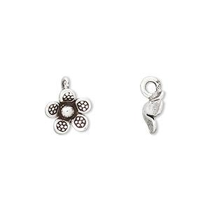 charm, hill tribes, antiqued fine silver, 9x9mm flower with dots. sold individually.