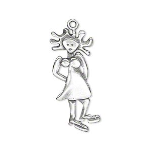 charm, jbb findings, antique silver-plated brass, 30x12.5mm single-sided girl with moveable body. sold individually.