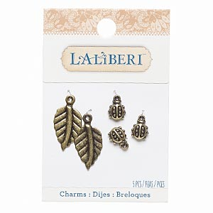 charm, laliberi™, antiqued brass-finished steel and pewter (zinc-based alloy), 10x9mm ladybug and 24x15mm leaf. sold per pkg of 5.