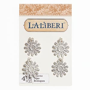 charm, laliberi™, silver-finished pewter (zinc-based alloy), 24x23mm daisy. sold per pkg of 4.
