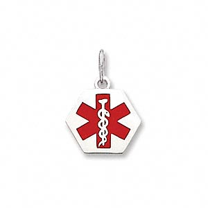 charm, medical alert id, 14ktw white gold and enamel, red, 15x15mm hexagon. sold individually.