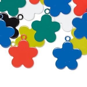 charm mix, enameled steel, mixed colors, 15x15mm flower. sold per pkg of 12.