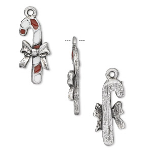 charm, pewter (tin-based alloy) with red and white epoxy, 23x9.5mm candy cane, one-sided design. sold per pkg of 2.