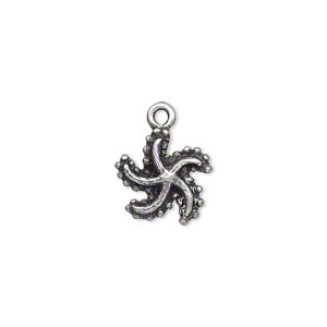 charm, pewter (zinc-based alloy), 12x11mm starfish. sold per pkg of 2.