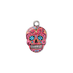 charm, resin and antique silver-plated pewter (zinc-based alloy), multicolored, 17.5x14mm single-sided dia de los muertos skull with flower and heart design. sold individually.