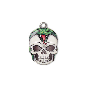 charm, resin and antique silver-plated pewter (zinc-based alloy), multicolored, 19x14.5mm single-sided skull with snake design. sold individually.